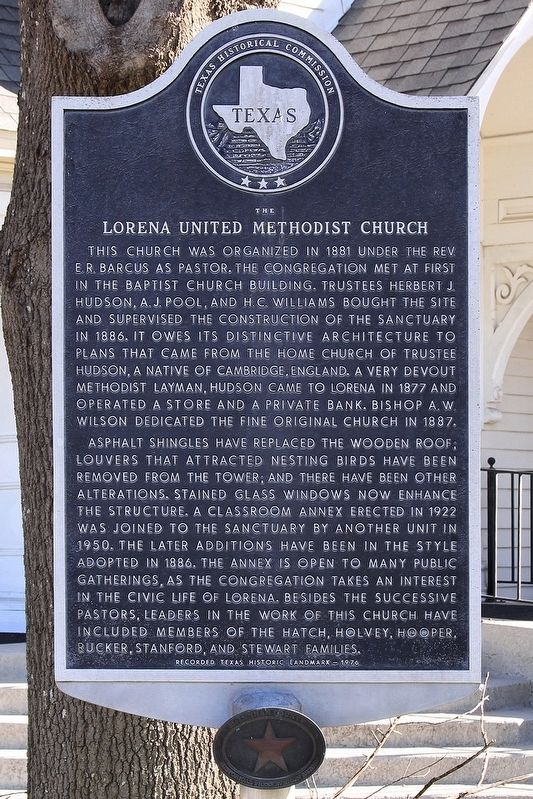 Lorena United Methodist Church Marker image. Click for full size.
