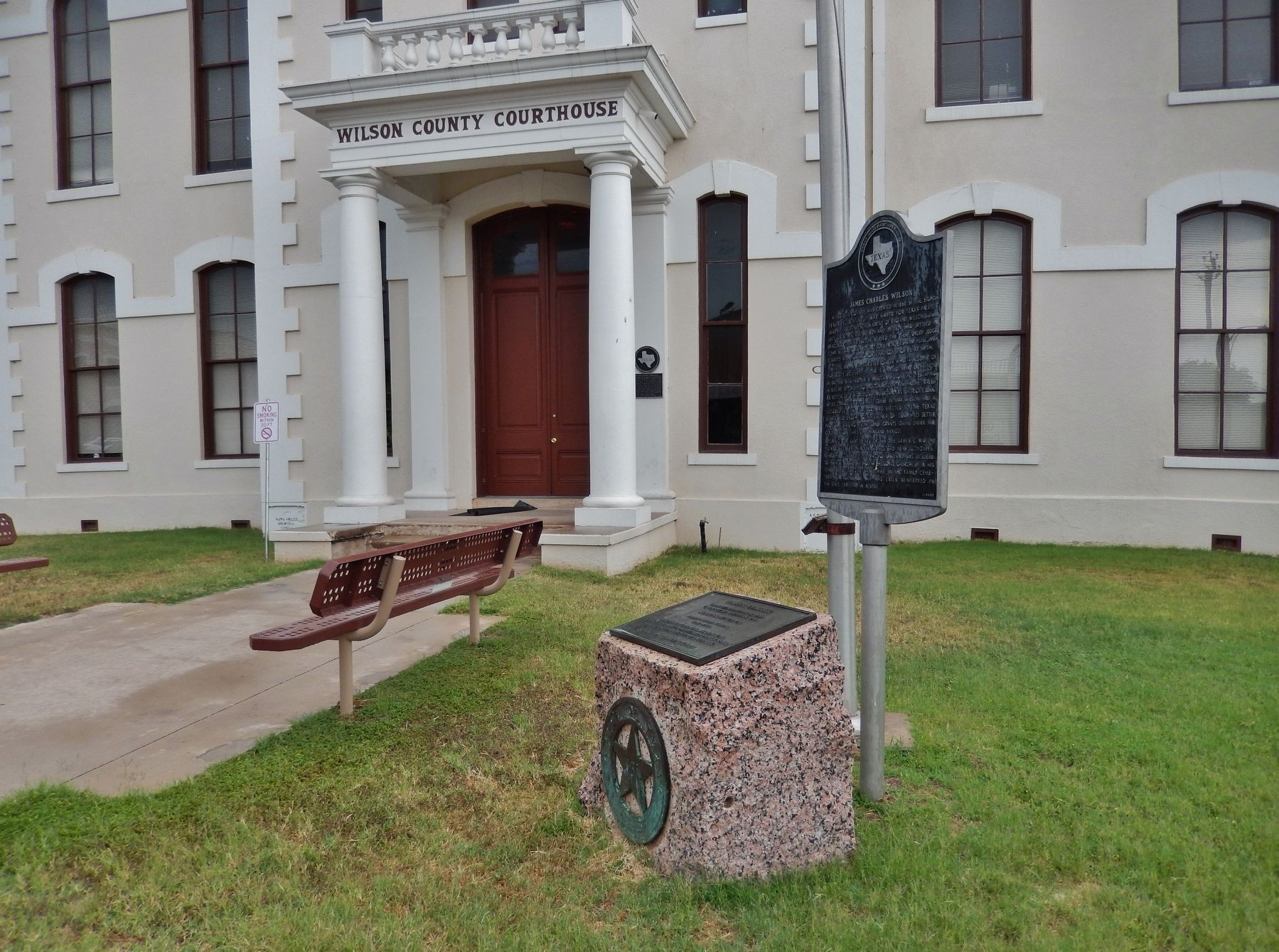 James Wilson Marker (<i>wide view; related marker beside; Wilson County Courthouse behind</i>) image. Click for full size.