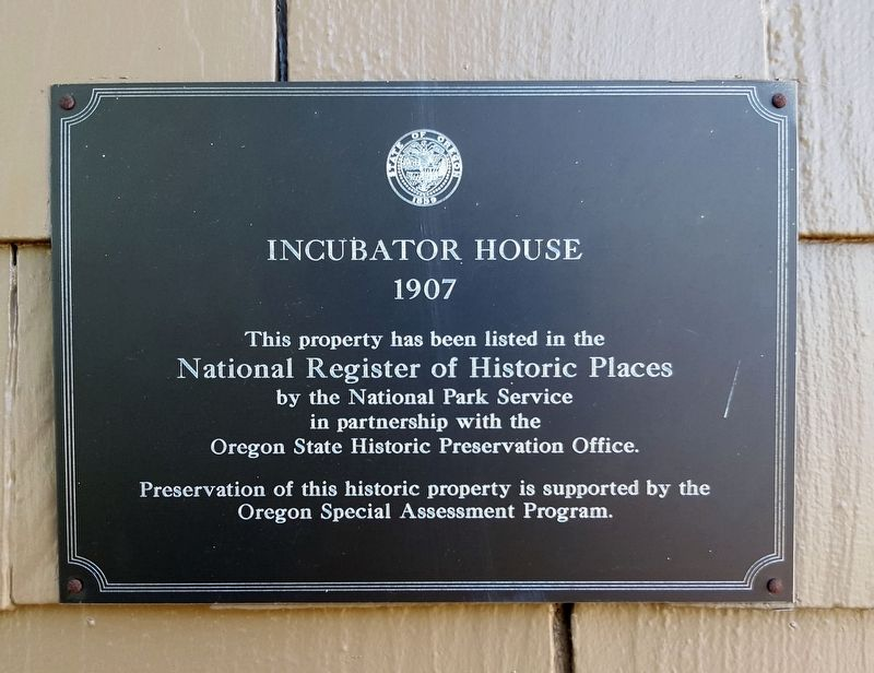 The Incubator House NRHP plaque image. Click for full size.