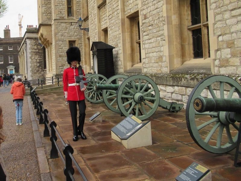 A Coldstream Guard at the Waterloo Barracks and the Waterloo Battery image. Click for full size.