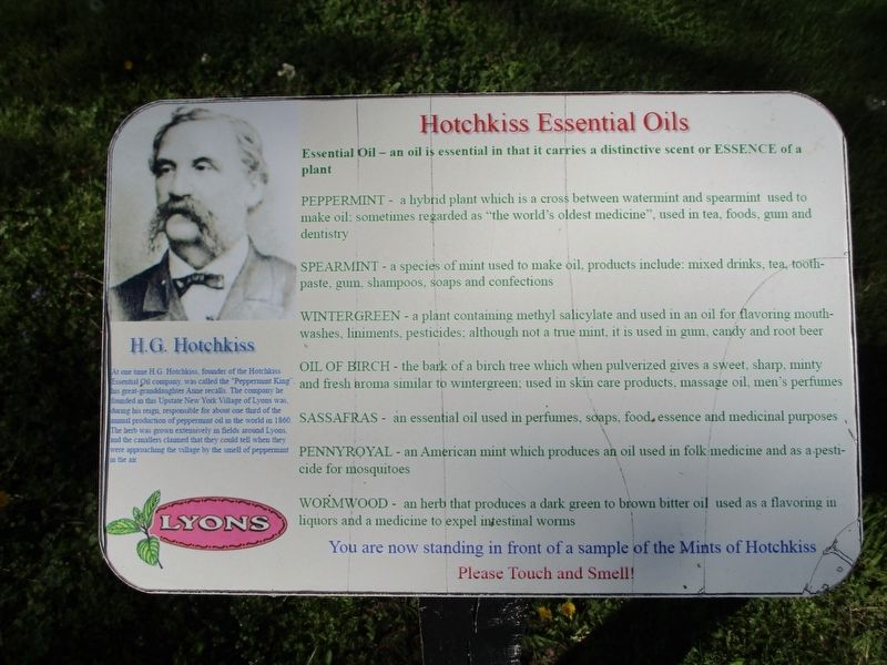 H.G. Hotchkiss/Hotchkiss Essential Oils Marker image. Click for full size.