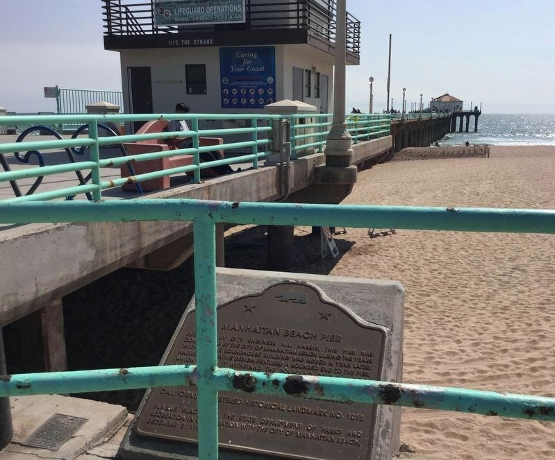 Manhattan Beach Pier and Marker image. Click for full size.