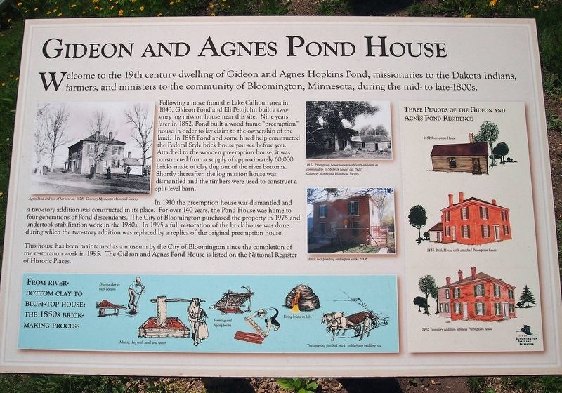Gideon and Agnes Pond House marker image. Click for full size.