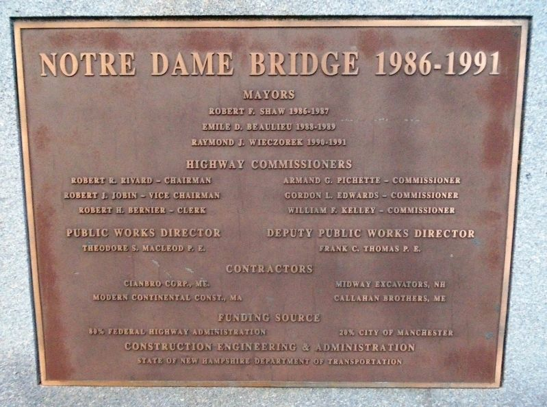 Notre Dame Bridge Officials Marker image. Click for full size.