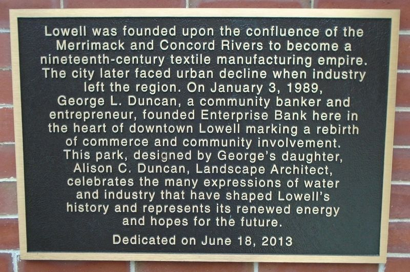 George L. Duncan Dedication Plaza and Fountain Marker image. Click for full size.