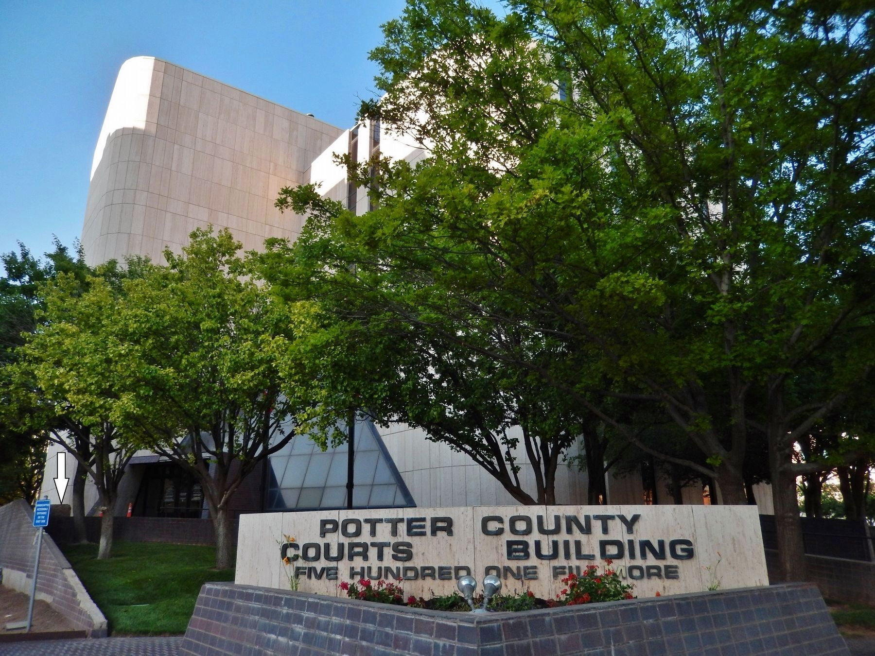 Potter County Courts Building Plaza (<i>marker visible near courthouse entrance - left edge</i>) image. Click for full size.