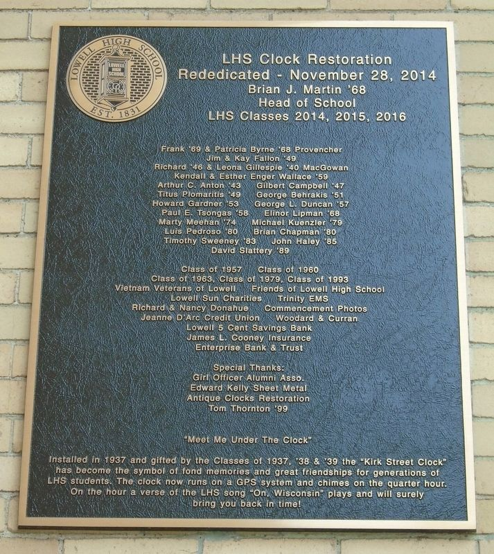 Lowell High School Clock Restoration Marker image. Click for full size.