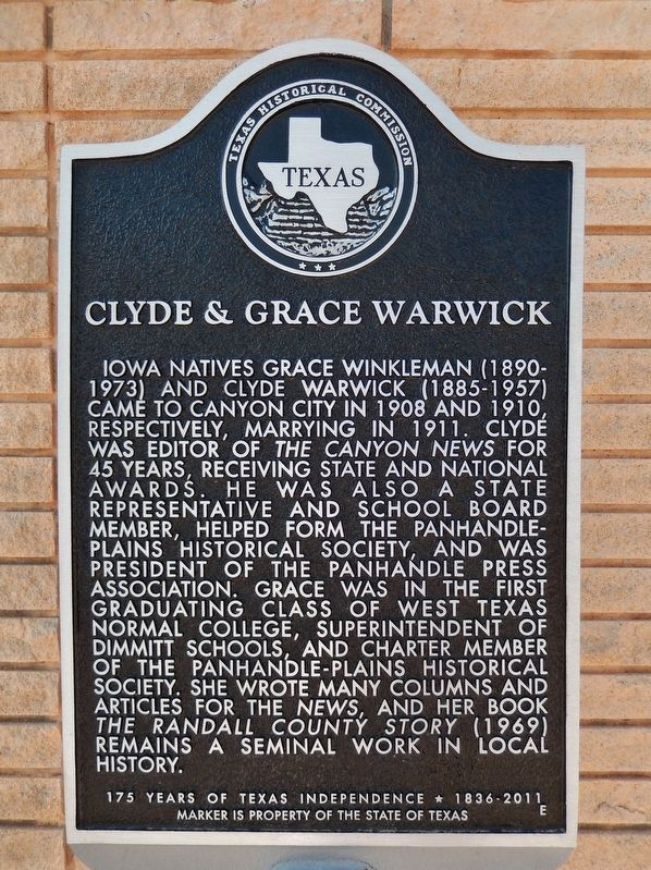 Clyde & Grace Warwick Marker image. Click for full size.