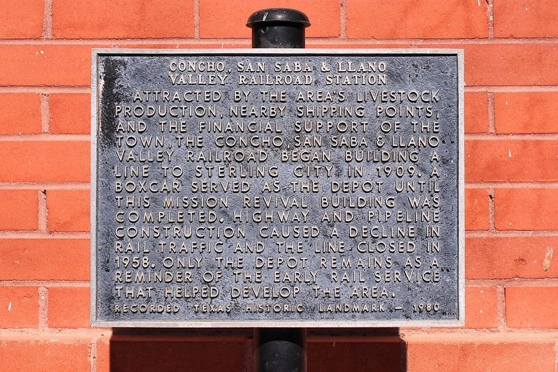 Concho, San Saba & Llano Valley Railroad Station Marker image. Click for full size.