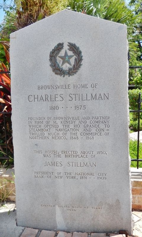 Brownsville Home of Charles Stillman Marker image. Click for full size.