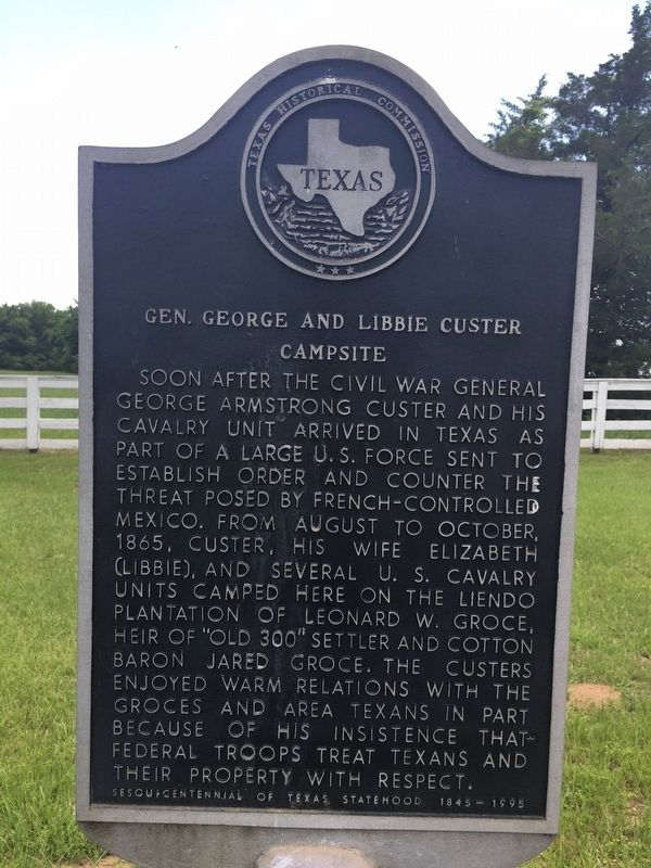 Gen. George and Libbie Custer Campsite Marker image. Click for full size.