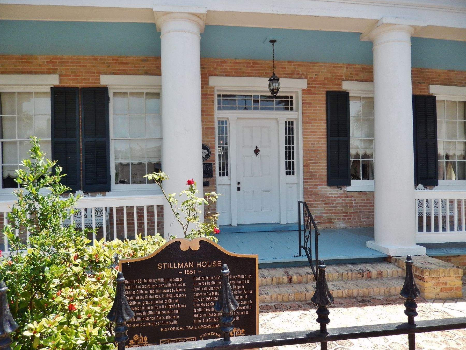 Stillman House Marker (<i>wide view; Stillman House patio & entrance in background</i>) image. Click for full size.