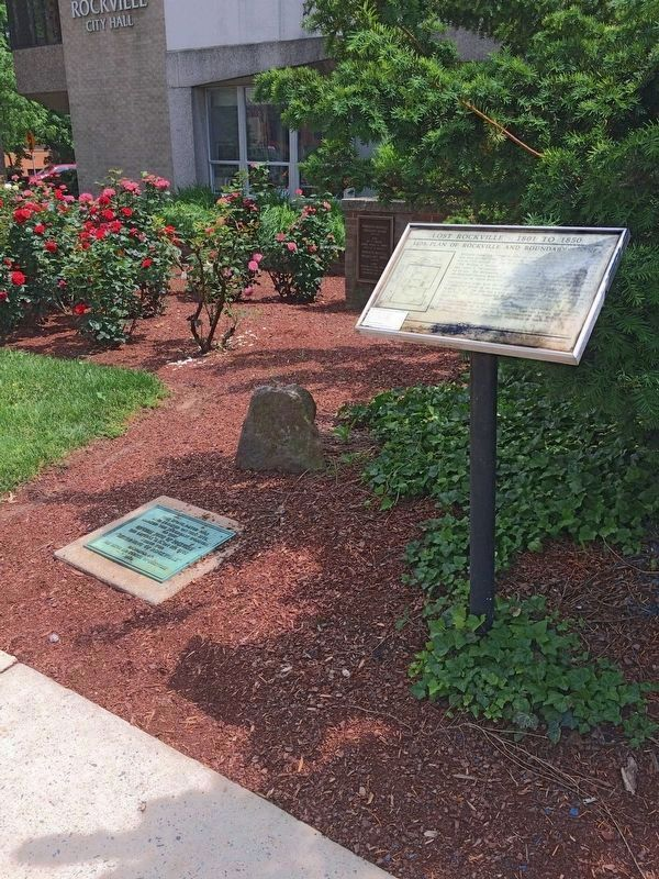 Boundary Stone and Markers<br>at Rockville City Hall image. Click for full size.