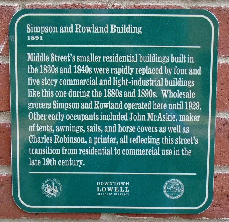 Simpson and Rowland Building Marker image. Click for full size.