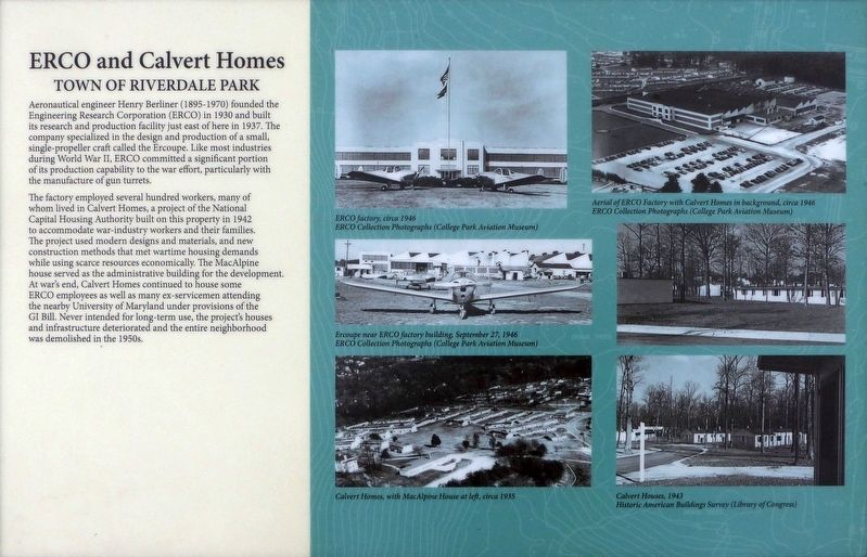 ERCO and Calvert Homes Marker image. Click for full size.