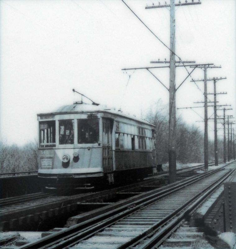 Trolley No. 540 near Paint Branch, 1947 image. Click for full size.