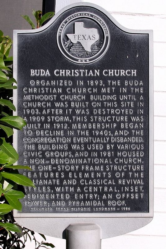 Buda Christian Church Marker image. Click for full size.