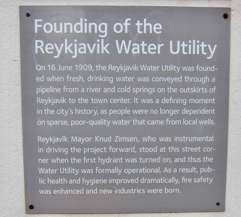 Founding of the Reykjavik Water Utility / Uphaf vatnsveitu Marker - English Panel image. Click for full size.