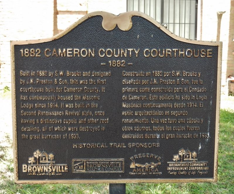 1882 Cameron County Courthouse Marker image. Click for full size.