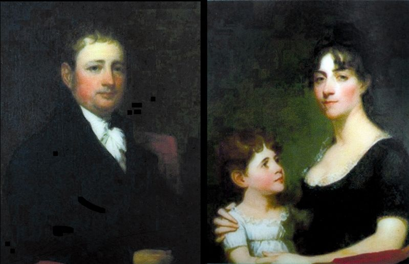 George Calvert and Rosalie Stier Calvert with daughter Carolina Maria by Gilbert Stuart 1804 image. Click for full size.