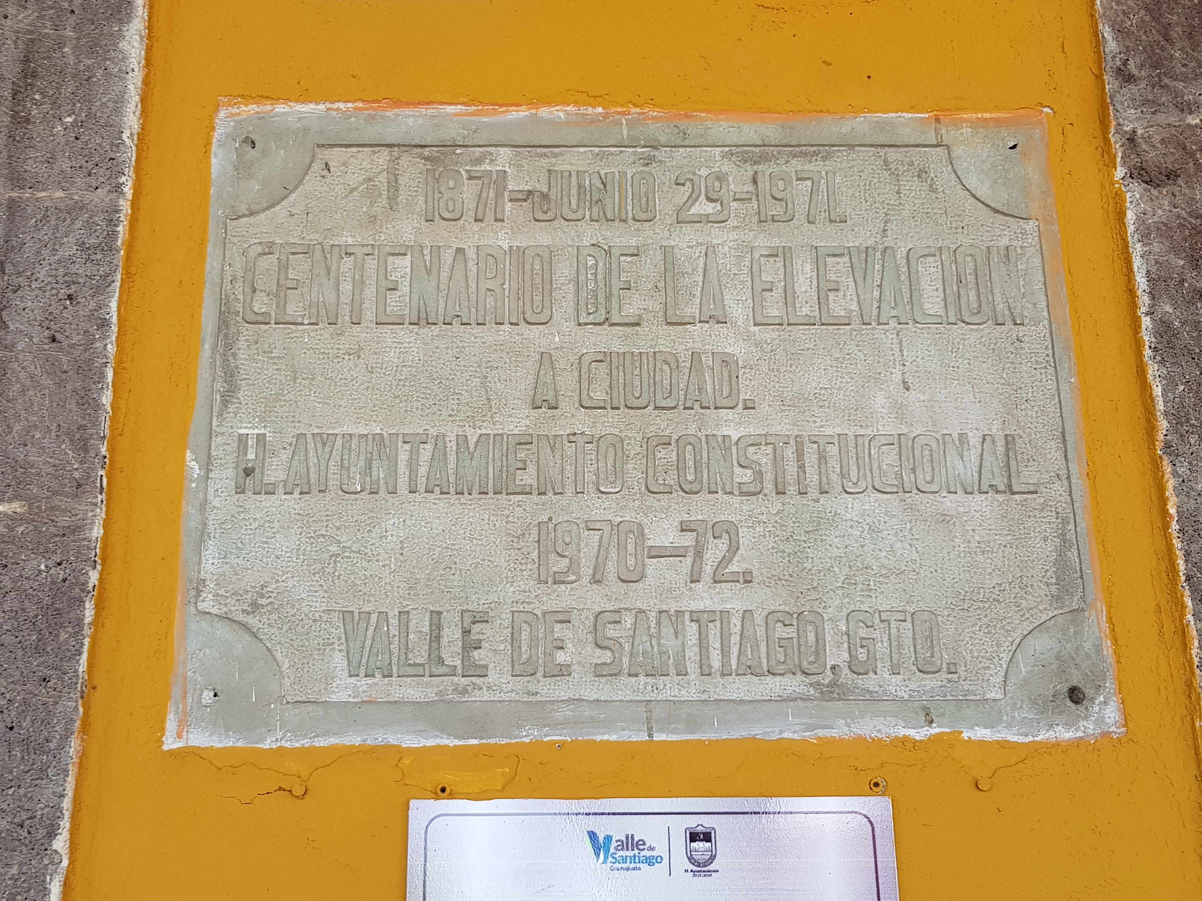 100th Anniversary of the City of Valle de Santiago Marker
