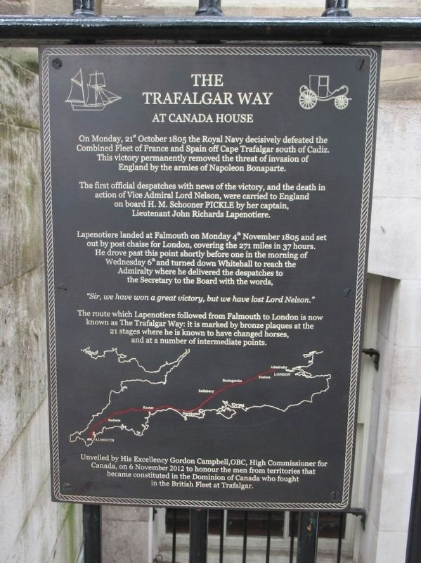 The Trafalgar Way at Canada House Marker image. Click for full size.