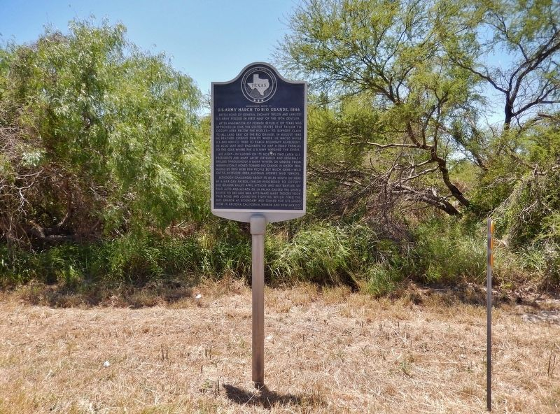 U.S. Army March to Rio Grande, 1846 Marker (<i>tall view</i>) image. Click for full size.