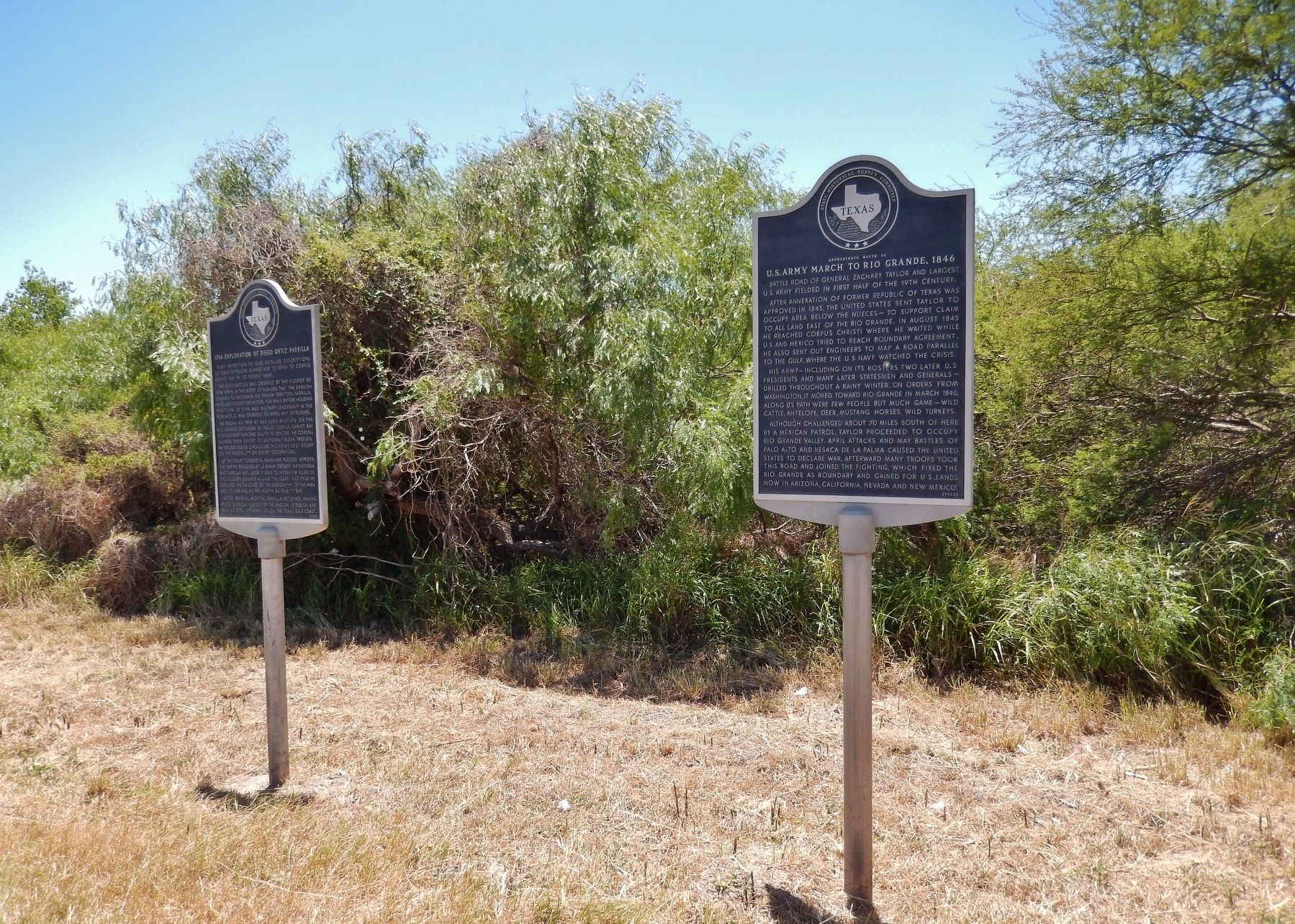 U.S. Army March to Rio Grande, 1846 Marker (<i>wide view; unrelated marker at left</i>) image. Click for full size.