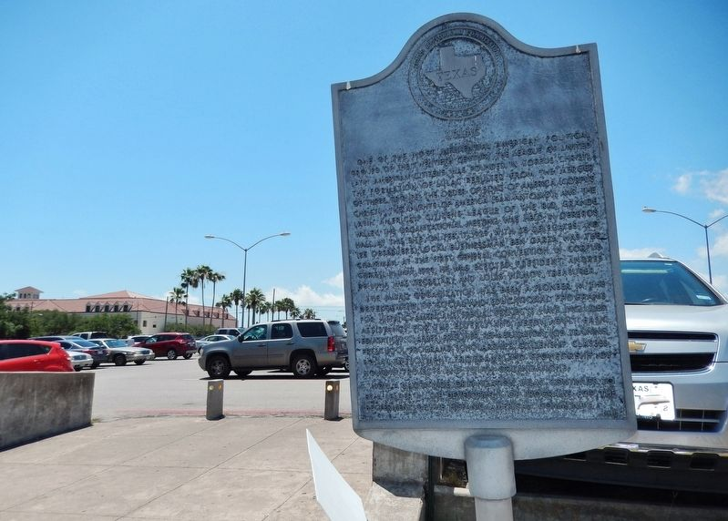 LULAC Marker (<i>wide view; parking lot in background</i>) image. Click for full size.