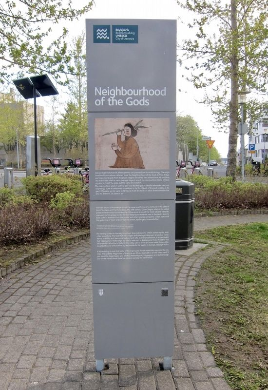 Neighbourhood of the Gods / Goðahverfið Marker - English Side image. Click for full size.