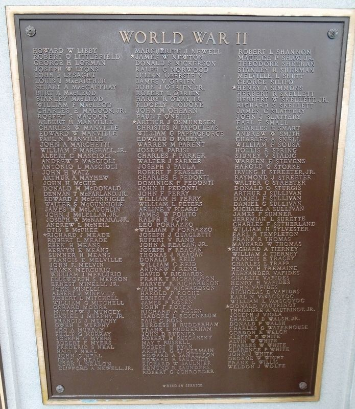 War Memorial WWII Honor Roll image. Click for full size.