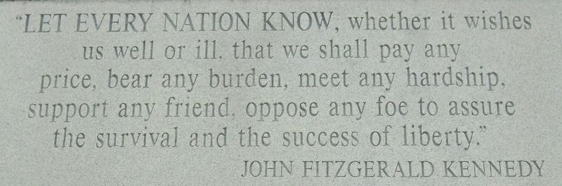 War Memorial JFK Quote image. Click for full size.