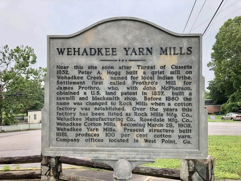 Wehadkee Yarn Mills Marker image. Click for full size.