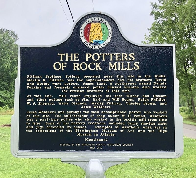 The Potters of Rock Mills Marker image. Click for full size.