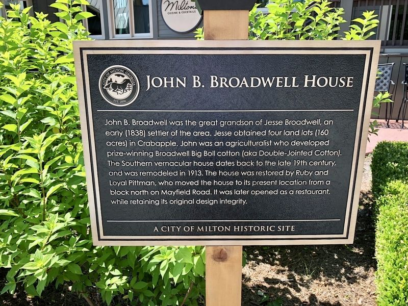 John B. Broadwell House Marker image. Click for full size.