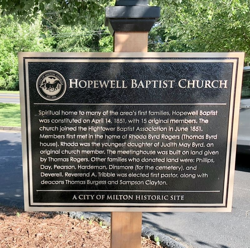 Hopewell Baptist Church Marker image. Click for full size.