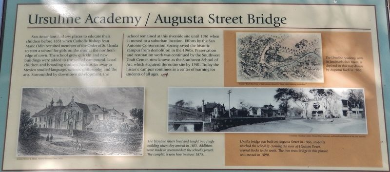 Ursuline Academy/Augusta Street Bridge Marker image. Click for full size.