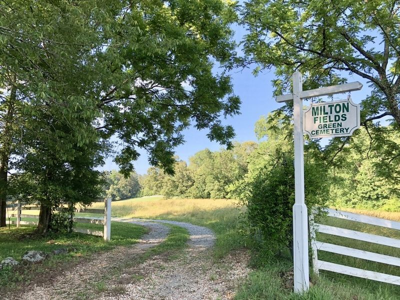 Immediately to right of marker, entrance to the Milton Fields Natural Burial Grounds. image. Click for full size.
