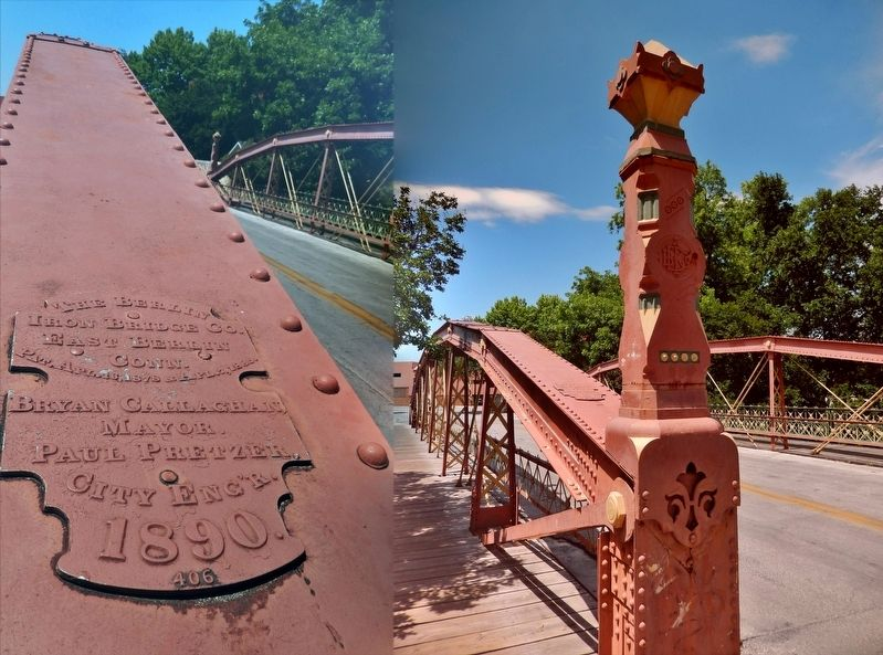 Augusta Street Bridge, Bridge Tower, and Bridge Construction Plaque detail image. Click for full size.