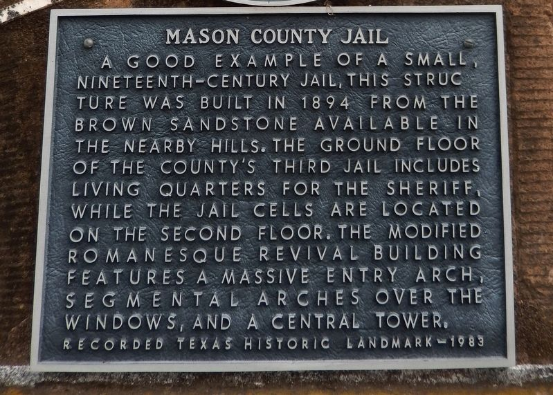 Mason County Jail Marker image. Click for full size.