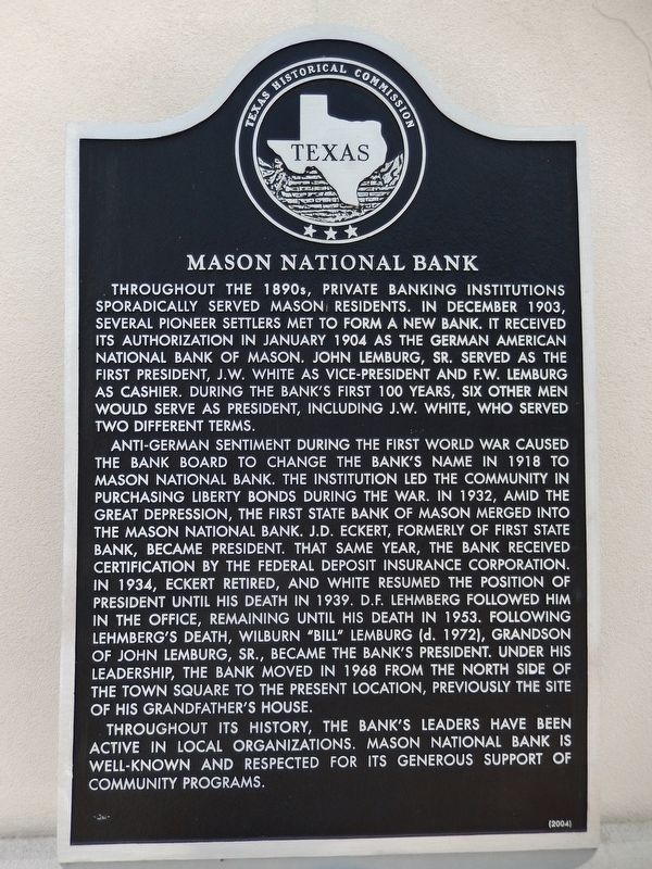 Mason National Bank Marker image. Click for full size.