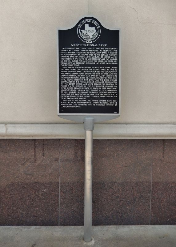 Mason National Bank Marker (<i>tall view</i>) image. Click for full size.