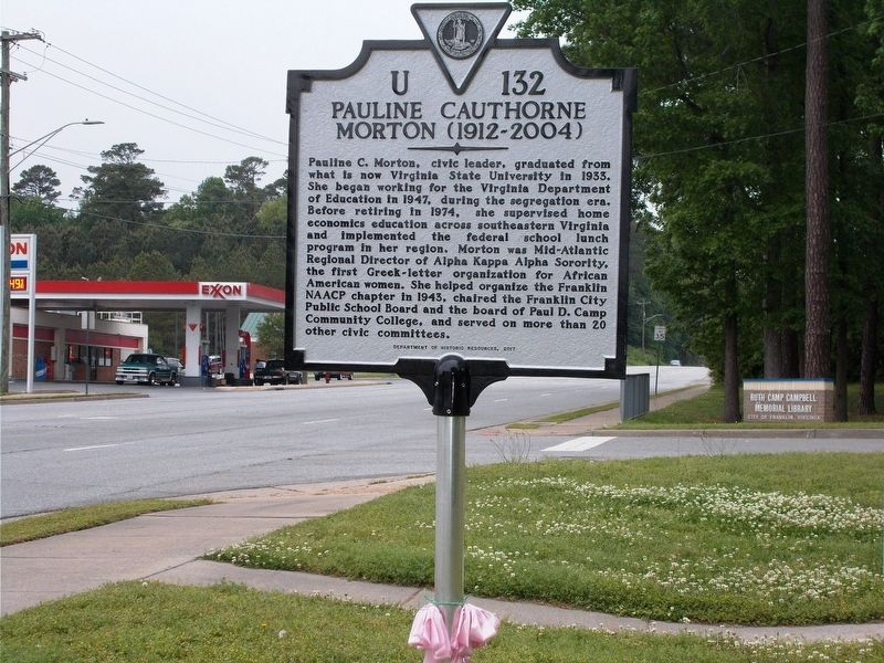 Pauline Cauthorne Morton Marker. image. Click for full size.