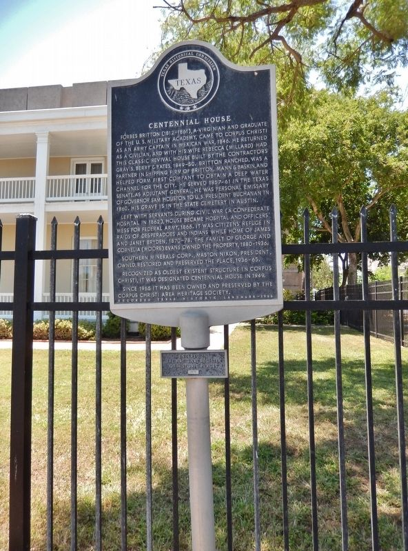 Centennial House Marker (<i>tall view; showing National Register of Historic Places plaque</i>) image. Click for full size.