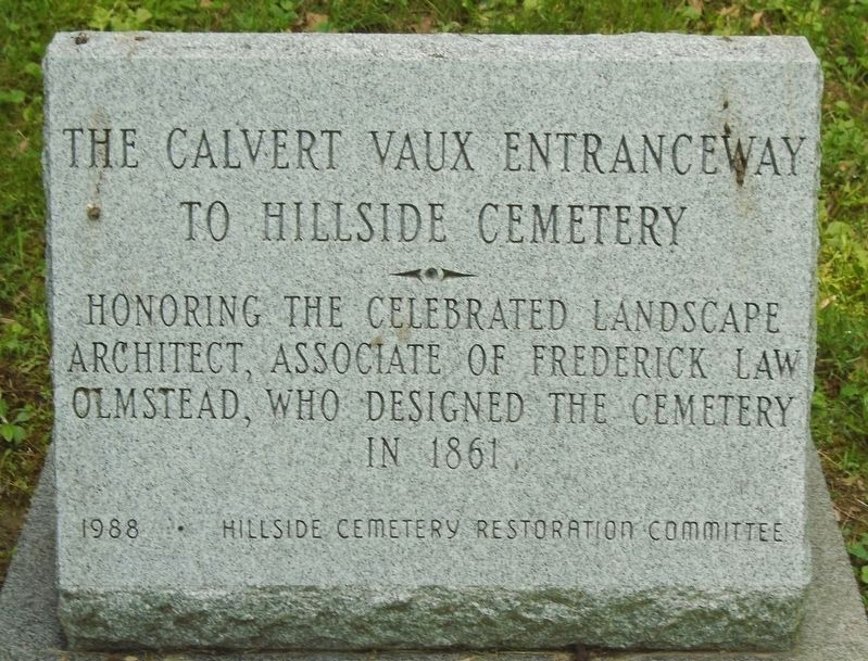The Calvert Vaux Entranceway to Hillside Cemetery Marker image. Click for full size.