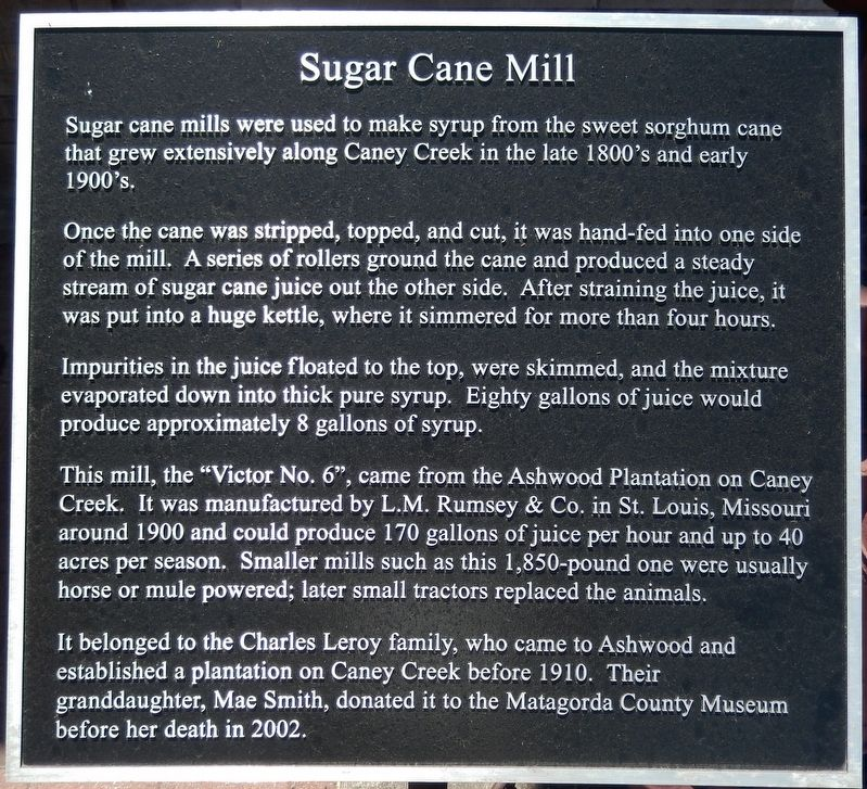 Sugar Cane Mill Marker image. Click for full size.
