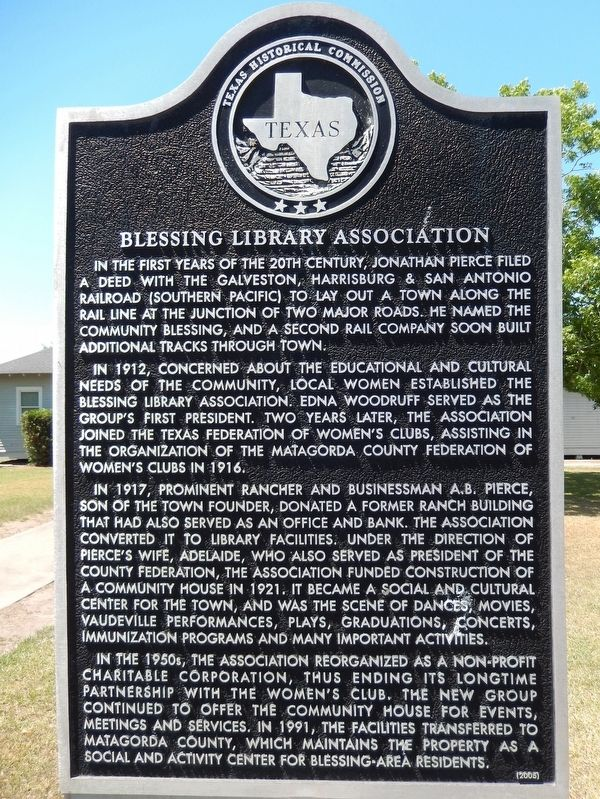 Blessing Library Association Marker image. Click for full size.