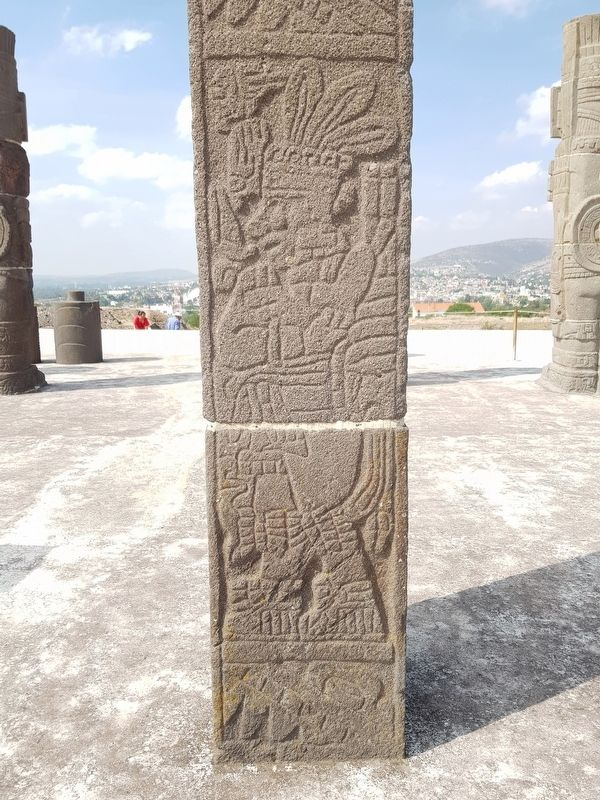 A carved column from The Temple of Pyramid B image. Click for full size.