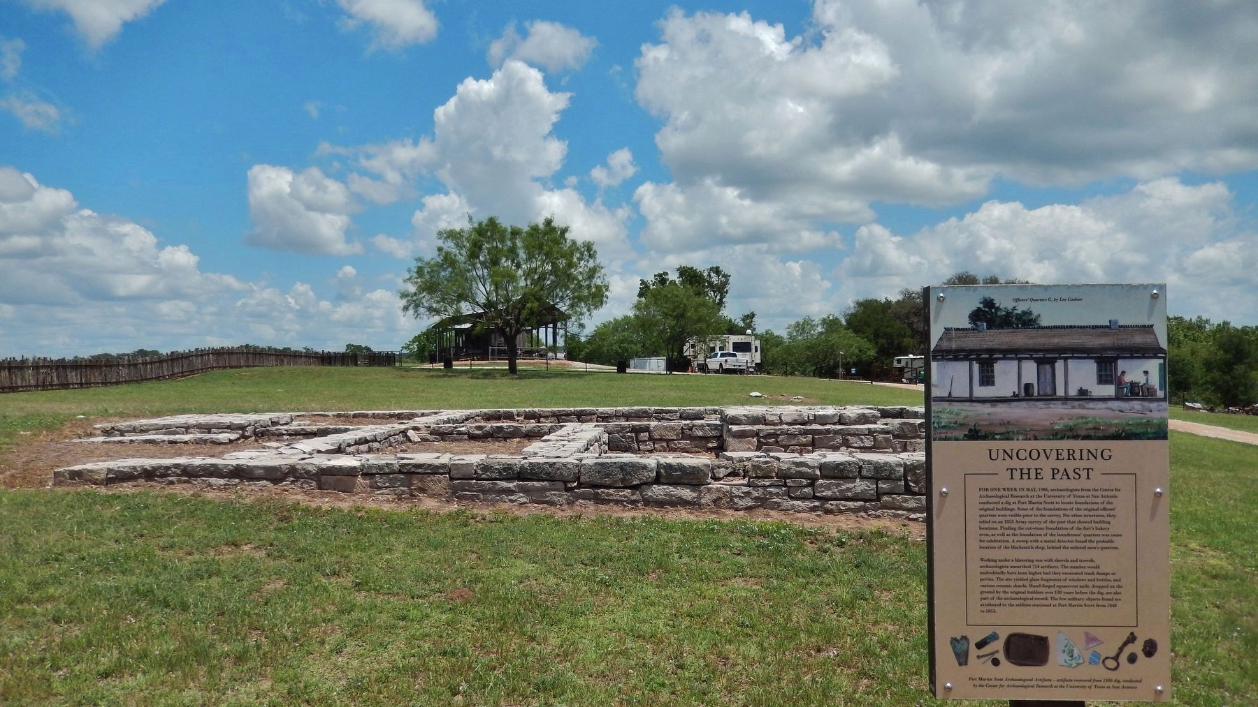 Uncovering the Past Marker (<i>wide view; foundation in background</i>) image. Click for full size.