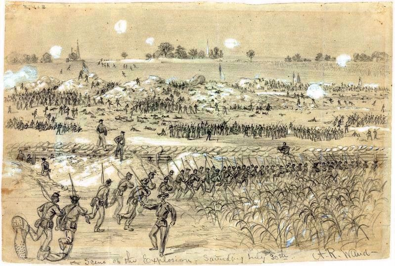 Scene of the Explosion Saturday July 30th 1864<br>by Alfred R. Ward image. Click for full size.